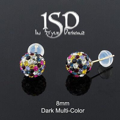 14k Gold 8mm Swarovski Elements Dark Multi-Color Crystal Disco Ball Stud Earring (Colored Disco Ball)