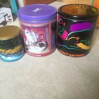 Cat food and dog treat tins