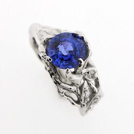 One off Natural Sapphire & Palladium Ring