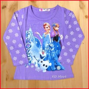 New Boys Girls long/Shortsleeved T-shirt Top  Frozen Elsa and  Anna,Olaf  2-8Yrs