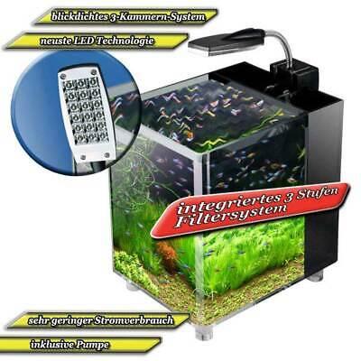 Aquarium Set mit Pumpe LED für kleine Fische Garnelen Guppies Wohnungsdeko