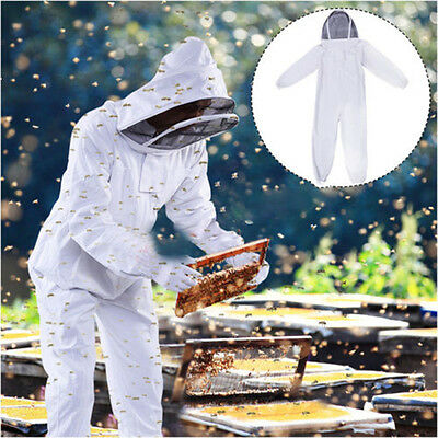 Professional Cotton Full Body Beekeeping Bee Keeping Suit Beekeeper W Veil Hood
