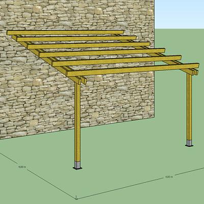 Pergola in legno 4x4 addossata a muro tettoia veranda pergolato
