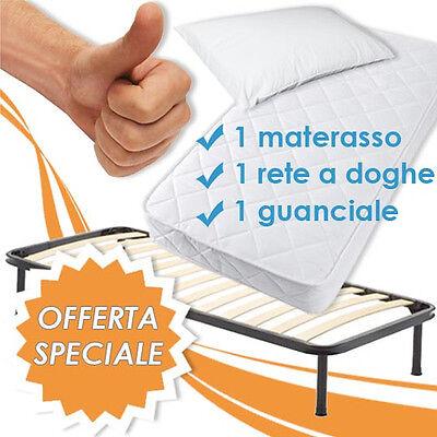 MATERASSO SINGOLO + RETE A DOGHE ORTOPEDICA SINGOLA +1 CUSCINO IN LATTICE 100% !