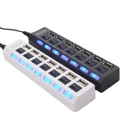 Hub USB 7 Ports LED Adaptateur Haute Vitesse USB 2.0 Commutateur Switch Laptop