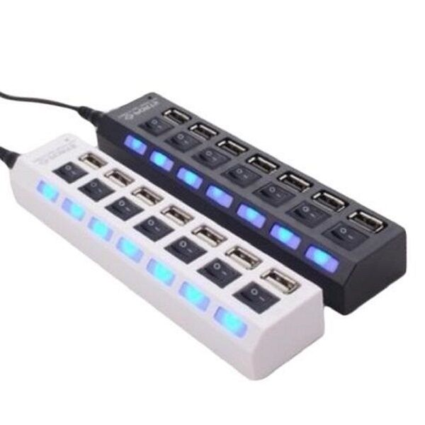 Hub USB 7 Ports LED Adaptateur Haute Vitesse USB 2.0 Commutateur Switch Laptop
