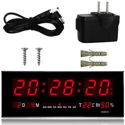LED Digital Wall Desk Alarm Clock with Calendar Temperature Humidity Display