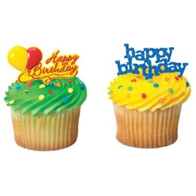 Happy Birthday cupcake topper picks 12 pcs (Happy Birthday Cupcake)