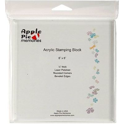 "Apple Pie Memories   ACRYLIC STAMP BLOCK  Stamping  6"" x 6""   Convenience, Clear"