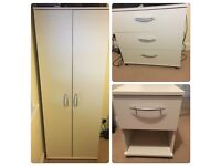 White Wardrobe / Chest of Drawers / Bedside table £50 the lot Yate