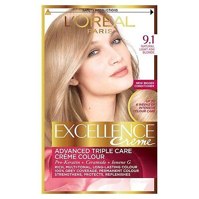 L'Oreal Excellence Crème Hair Colour 9.1 Light Natural Ash