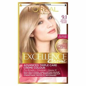 loreal excellence crme hair colour 91 light natural ash blonde - Coloration L Oreal Blond