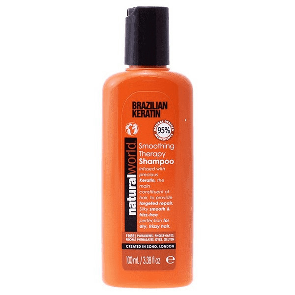 Natural World Brazilian Keratin Smoothing Therapy Shampoo - 100ml Travel Size