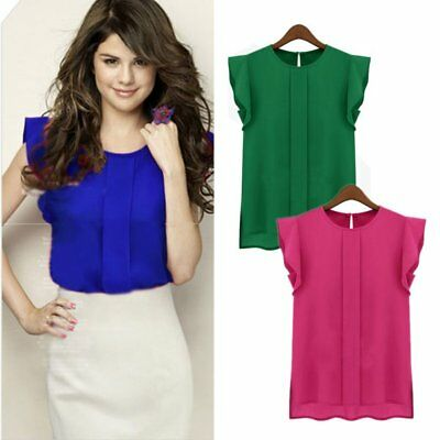Women Summer OL Office Work Dress Chiffon Tulip Short Sleeve Shirt Blouse Tops