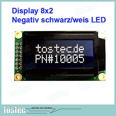 8x2 LCD Display Modul negativ SCHWARZ/Weiß LED-Backlight - HD44780 kompatibel Lcd-display-modul