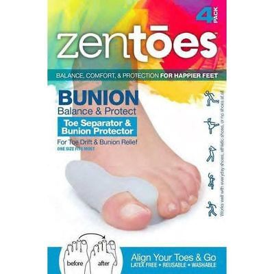 ZenToes Bunion Guard and Toe Separator in One 4 Pc Gel Shields Spacer (Gel Bunion Guard)