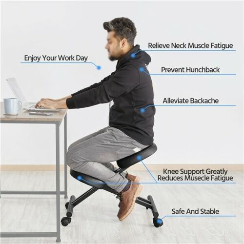 Adjustable Ergonomic Kneeling Chair Posture Chair Stool for Home Office Black 1