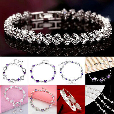 (Fashion Woman's Crystal 925 Sterling Silver Chain Bracelets Gift Cheap Jewelry)