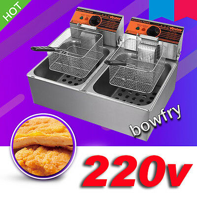 220v Electric Countertop Deep Fryer Double Cylinder 5.5lx2