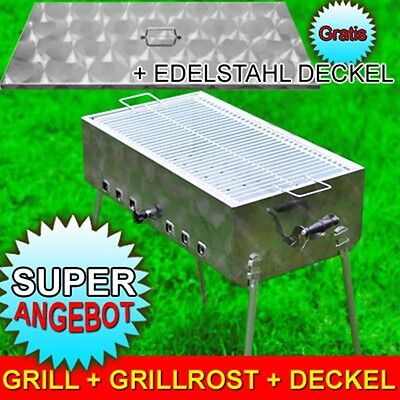 NEU MANGAL MEGA Edelstahl Schaschlik GRILL + Grillrost + DECKEL Modell 2019