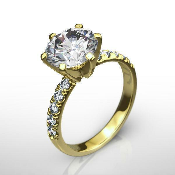 Round Shape Diamond Ring 14 Kt Yellow Gold Vvs1 Certified Accented 6 Prong 3 Ct