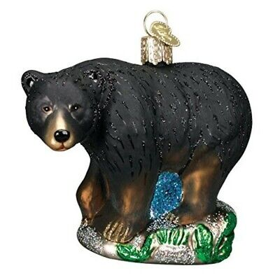 Old World Christmas 12207 Glass Blown Black Bear Ornament