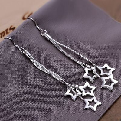 Fashion Dress Star Dangle Silver Plated Earrings   Anti Allergy For Women Uk