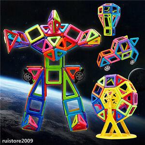 76pcs DIY 3D Multicolour Magnetic Blocks Construction Building Kids Toy Puzzle