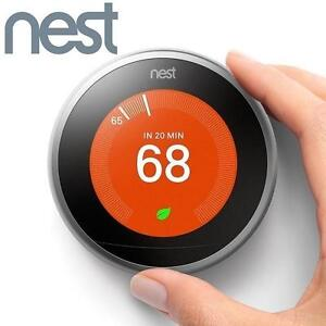 USED* NEST LEARNING THERMOSTAT 3RD GENERATION HEATING VENTING COOLING HOME 112084483