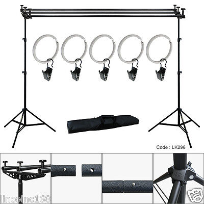 10Ft Triple Crossbar Background Support Stand Photo Studio Backdrop Stand Kit