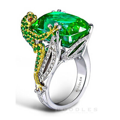 Frog Jewelry - 6.8CT Emerald Frog 925 Silver Women Jewelry Wedding Engagement Ring Size 6-10
