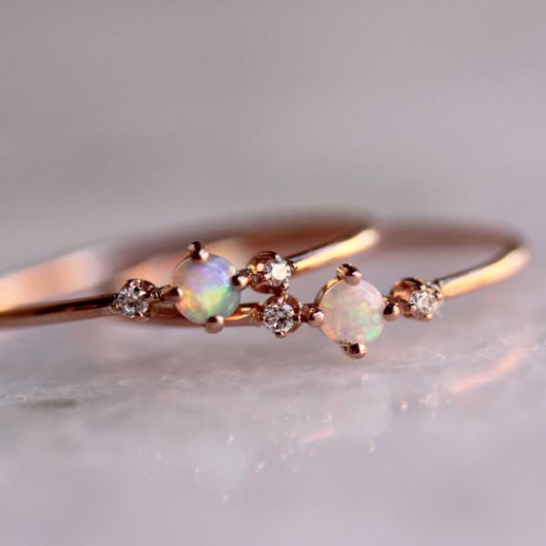 18K Rose Gold Filled White Opal Diamond Engagement Rings for