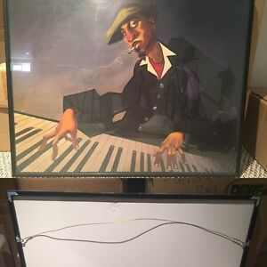 Piano man II by Bua painting including frame