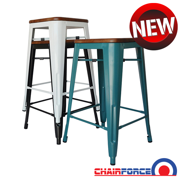 Replica Tolix Counter Stool With Timber Seat Stools