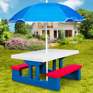 kids garden table picnic bench set children furniture umbrella parasol outdoor - Garden Furniture Kids