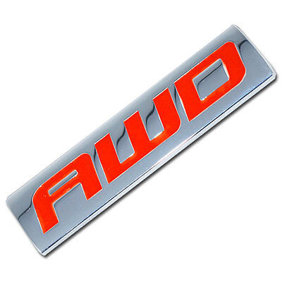 CHROME/RED METAL AWD ENGINE RACE MOTOR SWAP EMBLEM BADGE FOR TRUNK HOOD DOOR