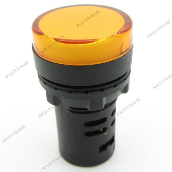 10PCS Yellow 22mm 12V LED Indicator Power Signal Light Pilot Panel Lamp Round