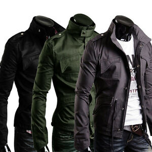 Military-Style-Men-039-s-Slim-Fit-Stand-Collar-Jacket-Coat-Zip-Button-Hoody-Overcoat