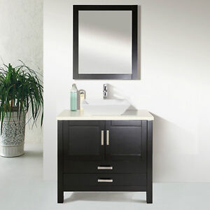"""30"""" Solid Wood Bathroom Vanity with Mirror and Faucet"""