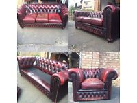 Oxblood Chesterfield leather sofa