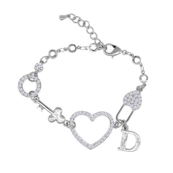 Chic Rhinestone Heart Letter Circle Bracelet For Women