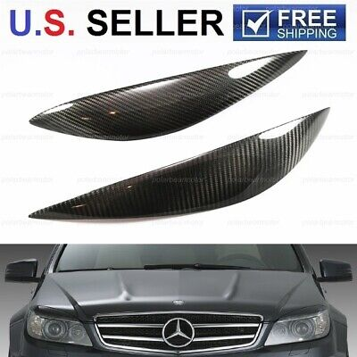 For 2007-2010 Mercedes C-Class W204 Sedan Carbon Fiber Headlight Eyelid Covers