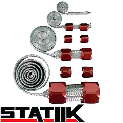 RED STAINLESS STEEL ENGINE HOSE DRESS UP KIT FOR RADIATOR/VACUUM/FUEL/OIL