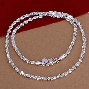 925 Sterling Silver Lovely Flash Wrest Rope Chain 4mm Necklace 18,20,22, 24 inch