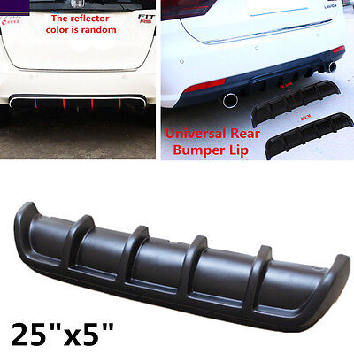 "25""x5"" Euro Matte Black Rear Shark Fin Curved  Bumper Lip Diffuser Kit Use Well"
