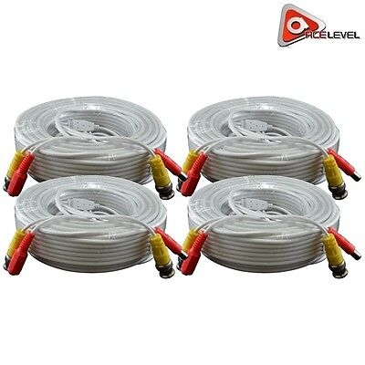 AceLevel Premium 100ft BNC Extension Cables for Night Owl Systems - 4 Pack White