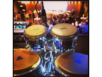 BONGO PLAYER PERCUSSIONIST DRUMMER AVAILABLE GIGS EVENTS DJS WEDDING CLUB BAR PARTY SUMMER