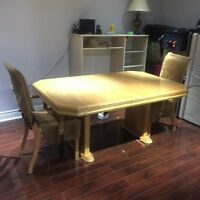 Oak table with two chairs
