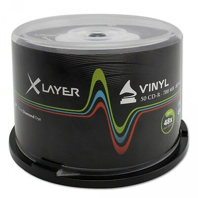 XLayer CD-R Vinyl Black 50Stk. Bedruckbar 700Mb 80Min Ink Printable 50er Spindel
