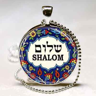 Shalom Hebrew HANUKKAH CHANUKAH Necklace GIFT Jewish Judaica PENDANT Silver